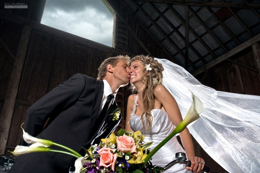 kissing in the barn