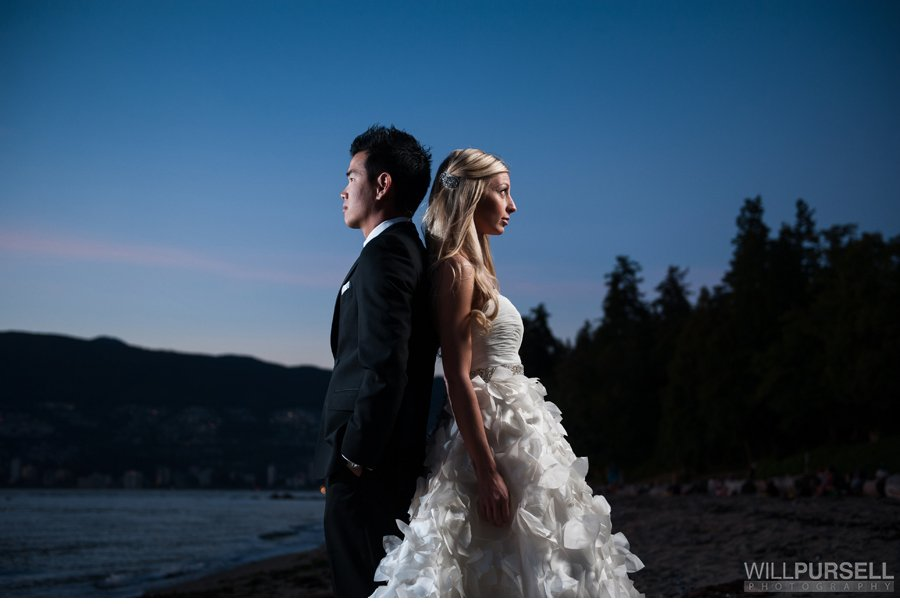 Third Beach Stanley park wedding photo