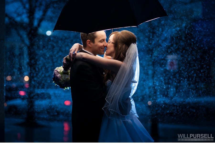 vancouver rain wedding photo