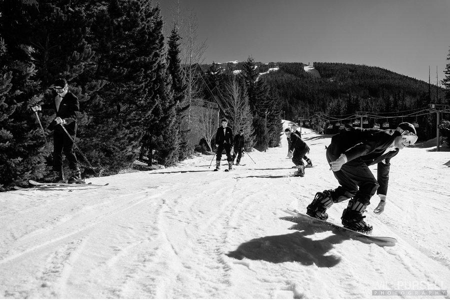 wedding photos ski action