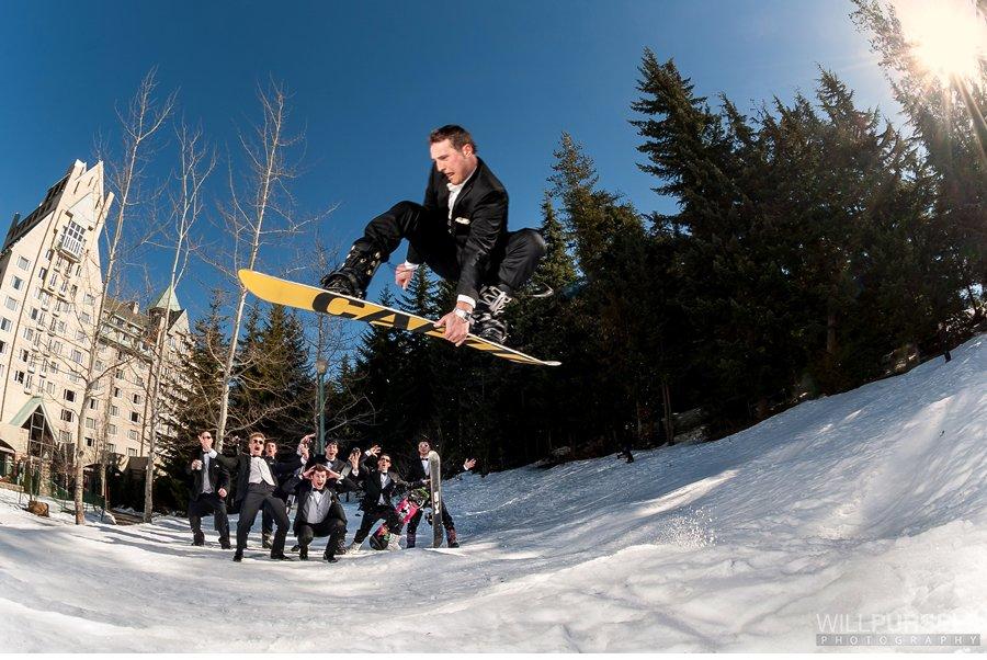snowboard wedding photo