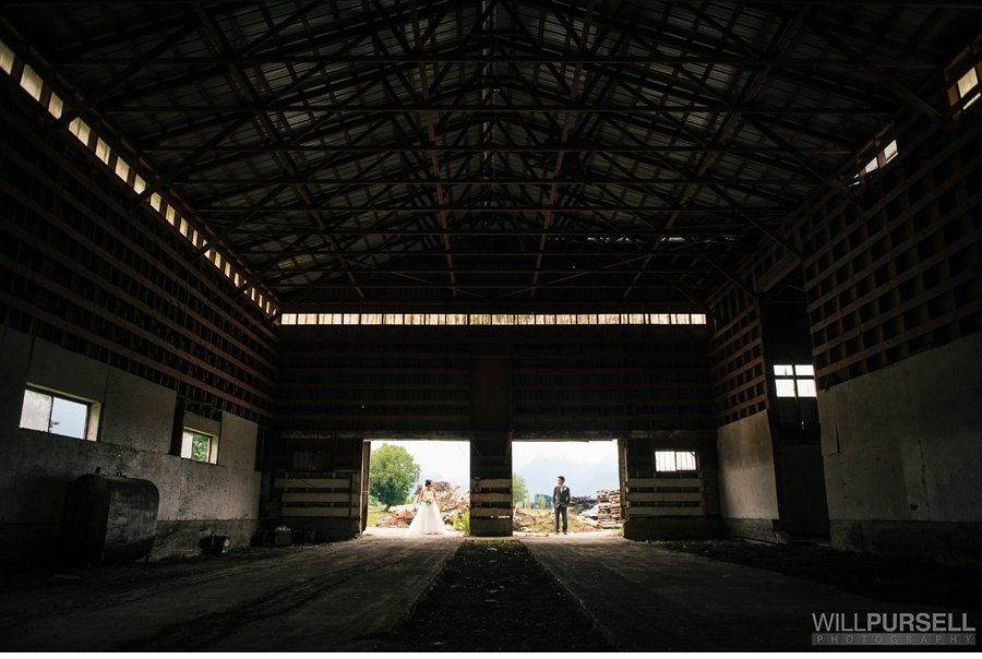 wedding photo in barn vancouver