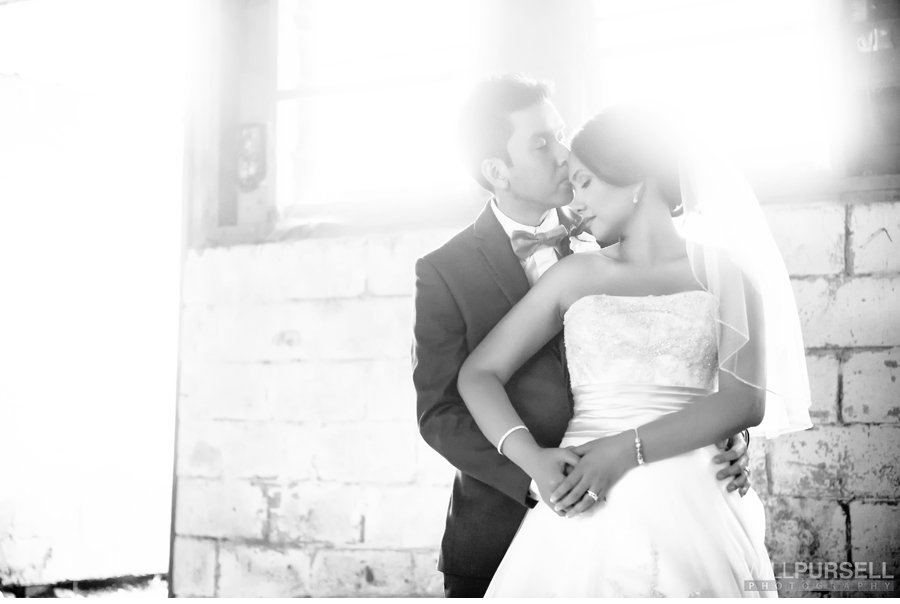 smoky black and white wedding photo