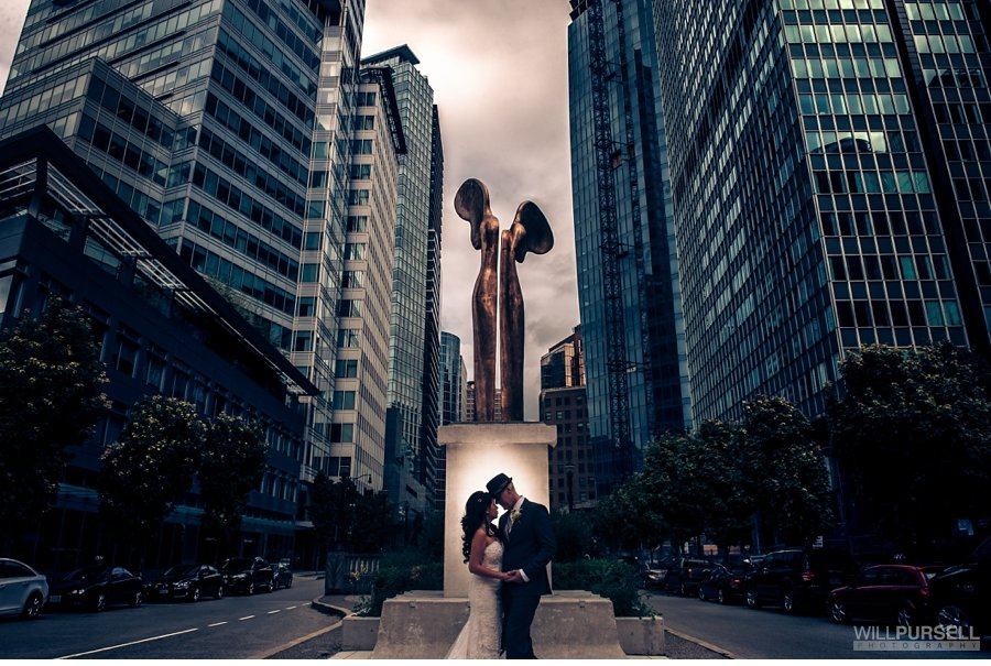downtown vancouver city wedding photo