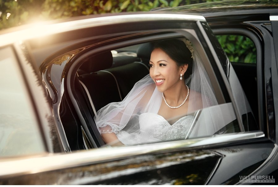 bridal photo in car vancouver