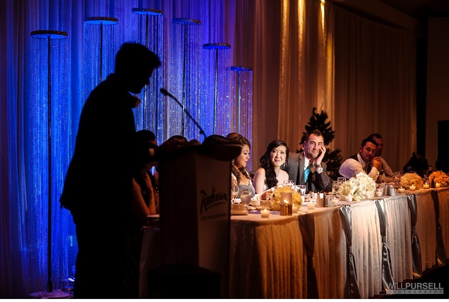wedding speech at the Radisson hotel ballroom