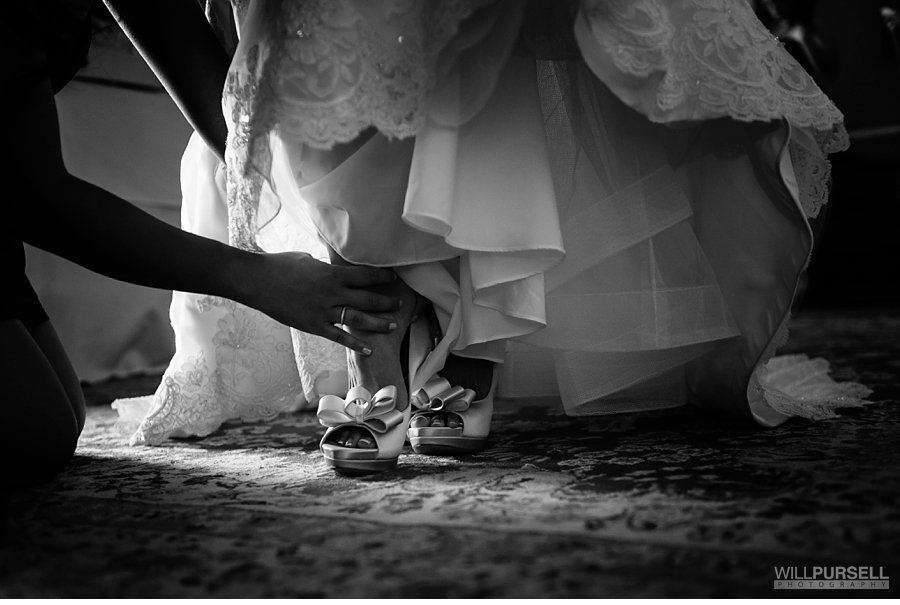 black and white of brides shoes