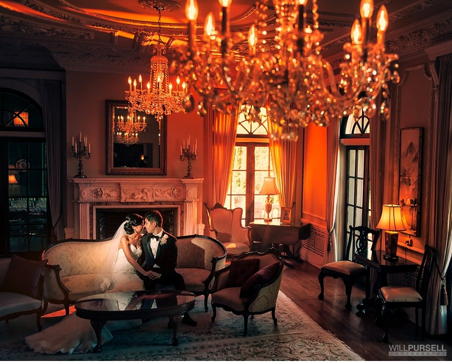 high end portrait at the hycroft with chandeliers