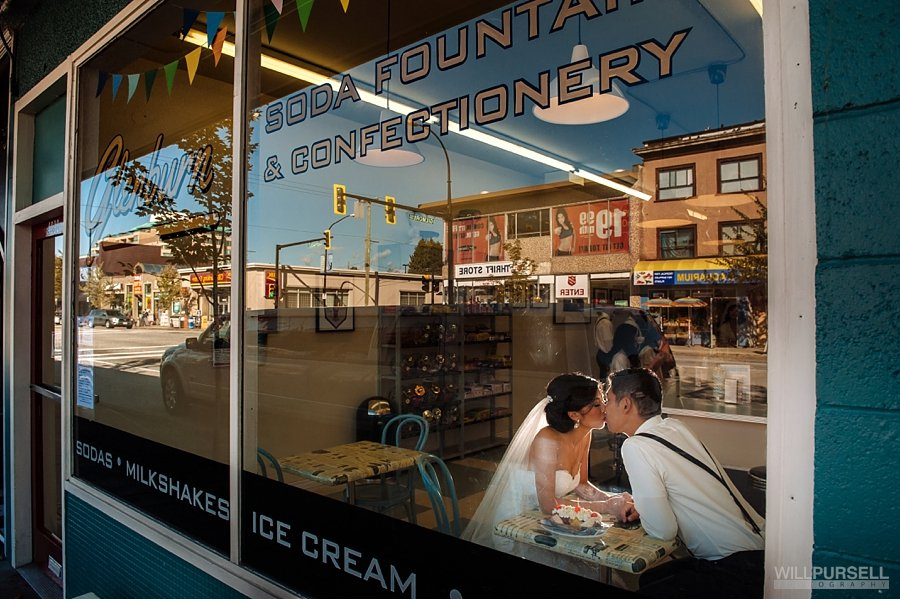 ice cream shop wedding photo