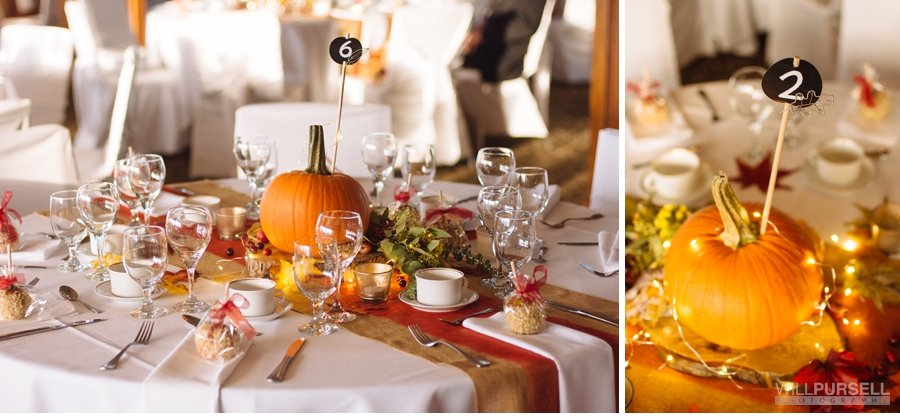 fall themed wedding centrepieces at jewel ballroom