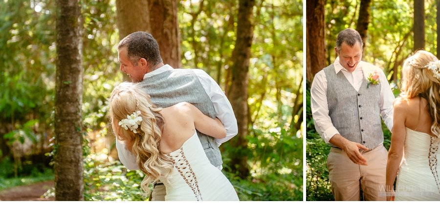 wedding first look forest