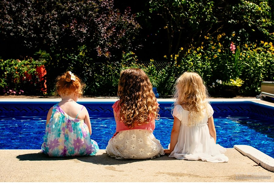 flower girls by the pool