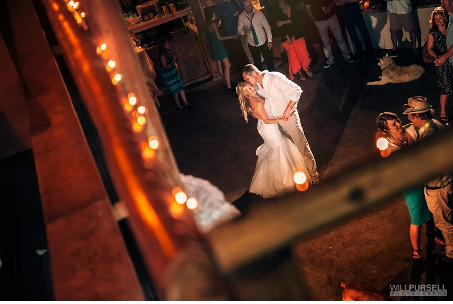 first dance in barn wedding with dogs