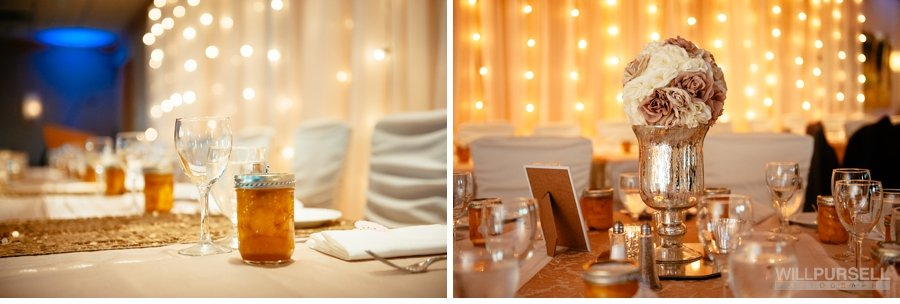 wedding details at reception, arbutus club wedding