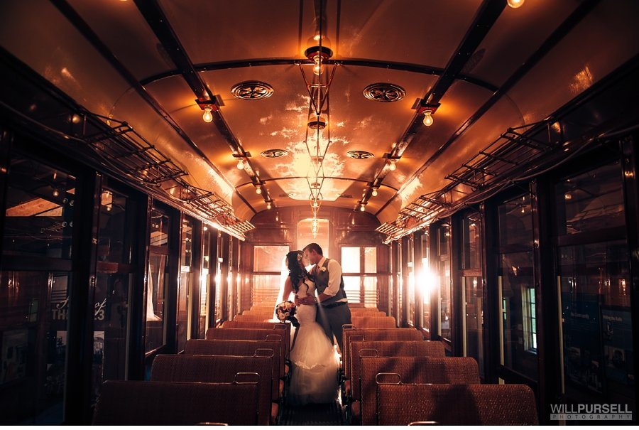 wedding train photo at burnaby village museum