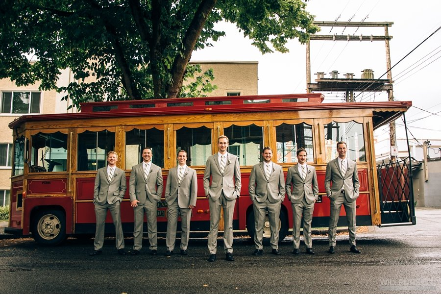 vancouver groomsmen photo with trolley
