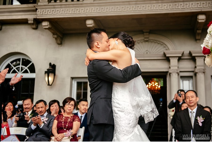 first kiss at wedding ceremony at hycroft manor
