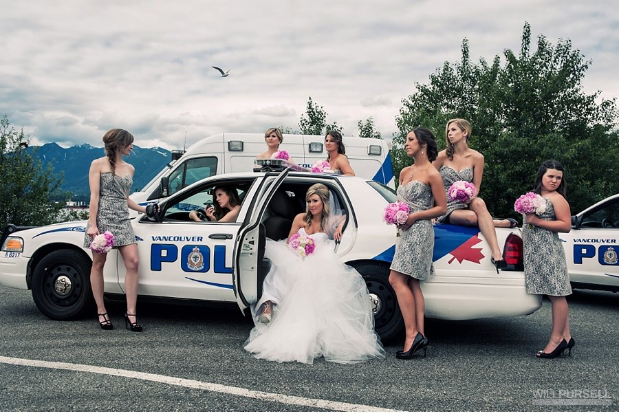 vancouver wedding party photo with police car