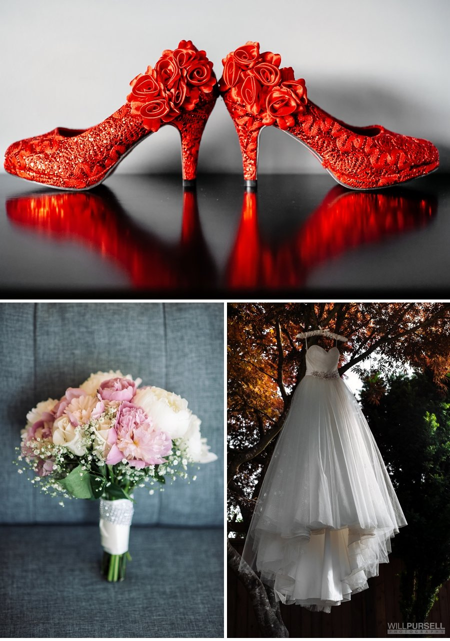 Red wedding shoes, Yellow and pink flowers, hanging wedding dress in tree