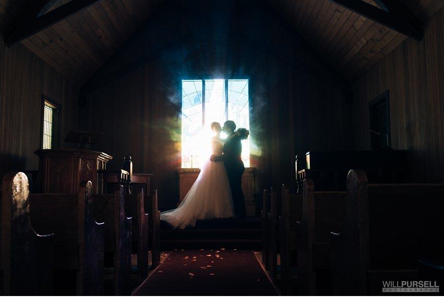 backlight church wedding photography