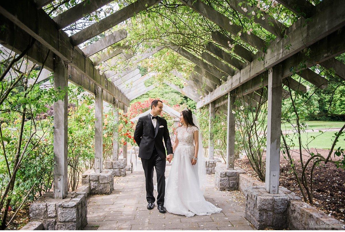 Wedding Portraits In Rose Garden Stanley Park