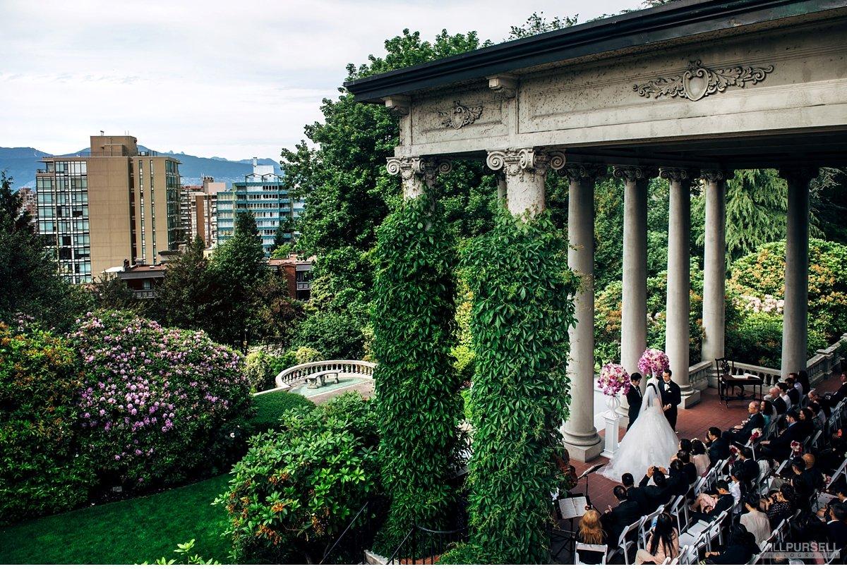 Hycroft manor wedding on terrace