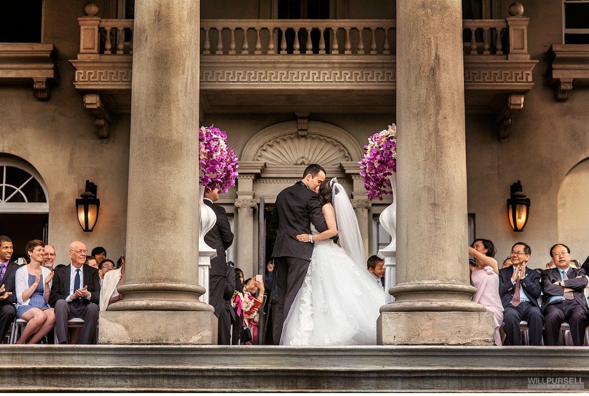 first kiss at wedding at Hycroft Manor