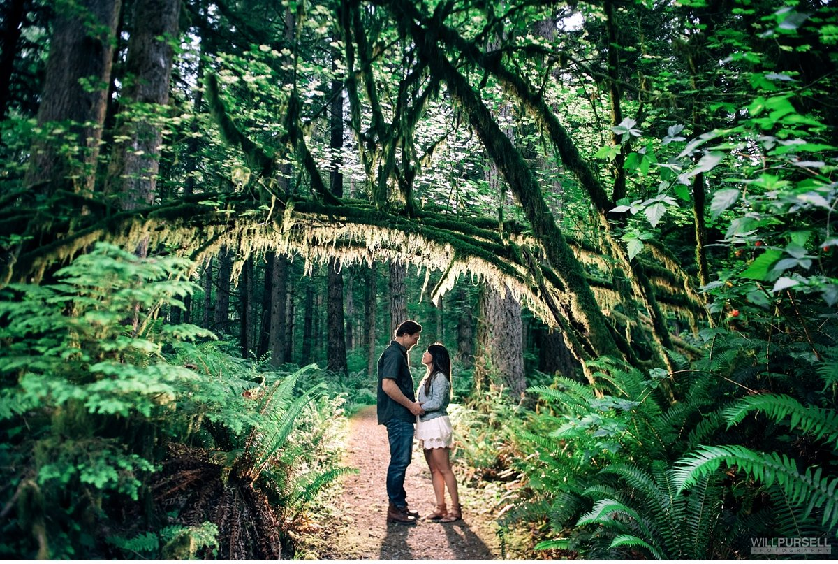 engagement photos in mossy trees Buntzen Lake