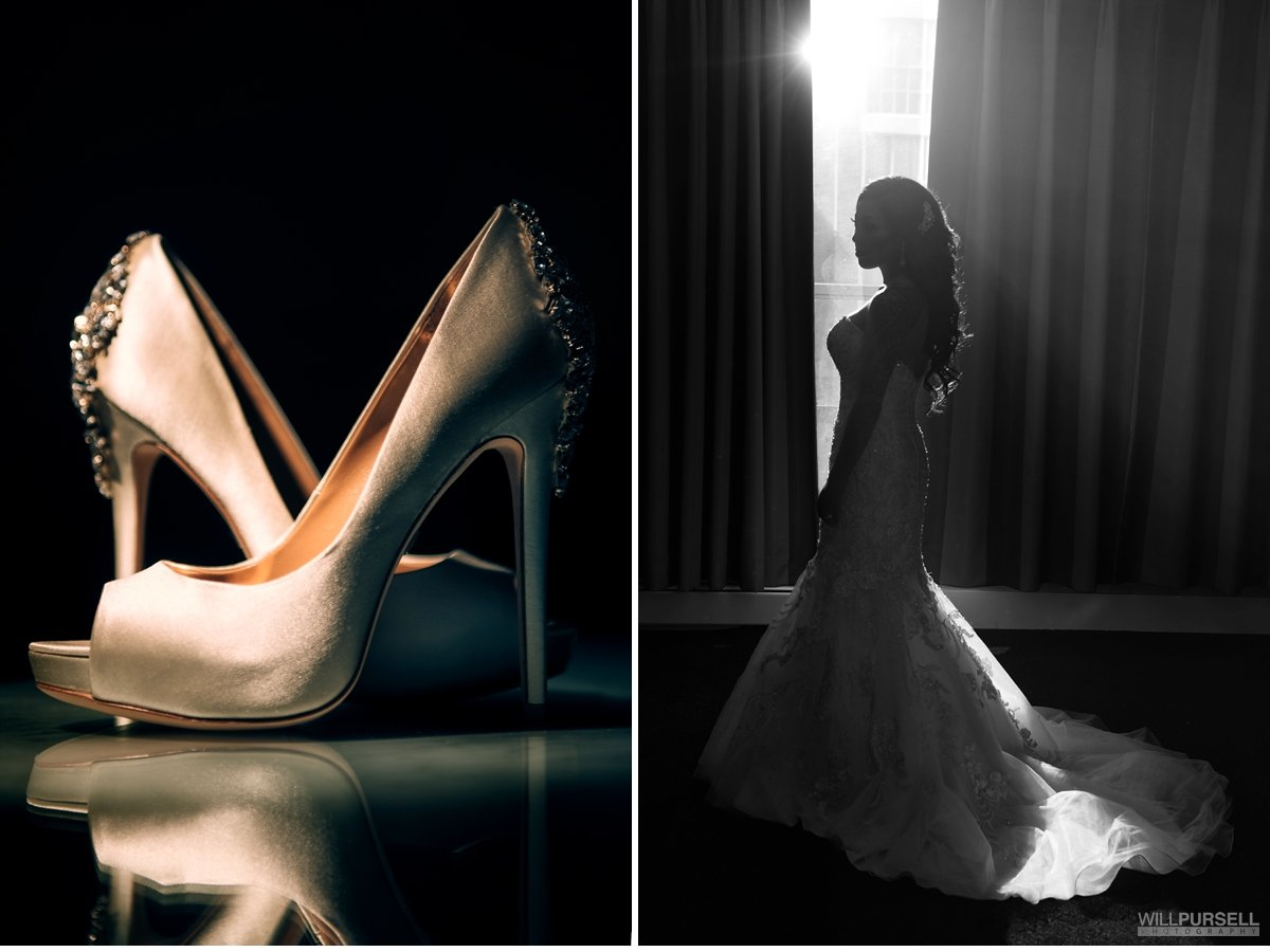Wedding shoes and lace dress