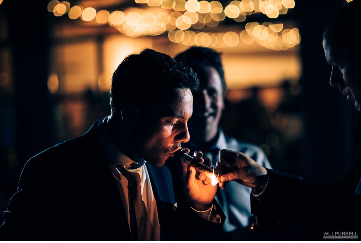 cigar wedding photo