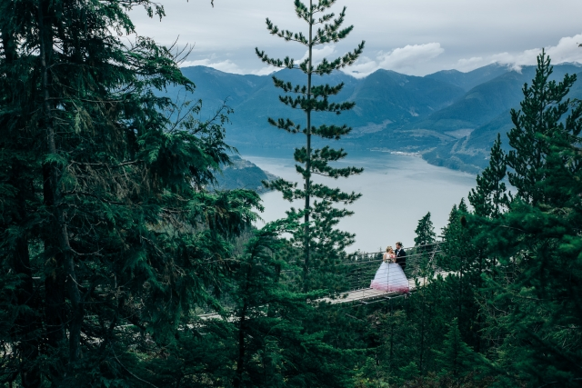 sea to sky gondola bridge wedding